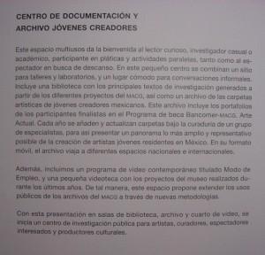 Texto de presentación Centro Documentación MACG-Programa Bancomer
